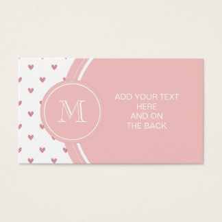 Tea Rose Pink Glitter Hearts with Monogram Business Card