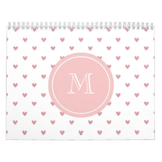 Tea Rose Pink Glitter Hearts with Monogram Calendar