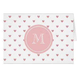 Tea Rose Pink Glitter Hearts with Monogram Card
