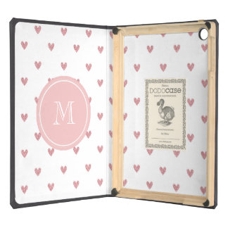 Tea Rose Pink Glitter Hearts with Monogram iPad Air Cases