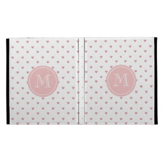Tea Rose Pink Glitter Hearts with Monogram iPad Folio Case