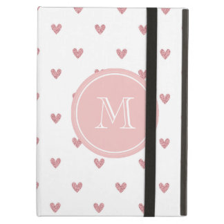 Tea Rose Pink Glitter Hearts with Monogram iPad Air Case