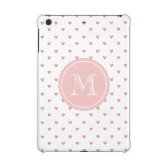 Tea Rose Pink Glitter Hearts with Monogram iPad Mini Retina Covers