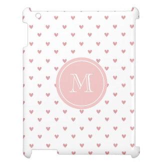 Tea Rose Pink Glitter Hearts with Monogram iPad Case
