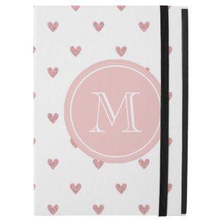 "Tea Rose Pink Glitter Hearts with Monogram iPad Pro 12.9"" Case"