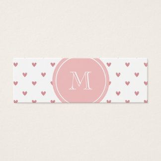 Tea Rose Pink Glitter Hearts with Monogram Mini Business Card