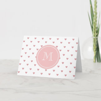 Tea Rose Pink Glitter Hearts with Monogram Note Card