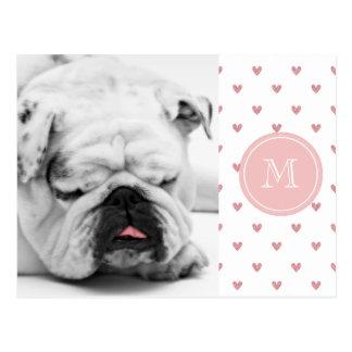Tea Rose Pink Glitter Hearts with Monogram Postcard
