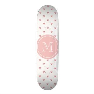 Tea Rose Pink Glitter Hearts with Monogram Skateboard Deck