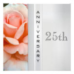 Tea Rose Silver Wedding Anniversary Invitation