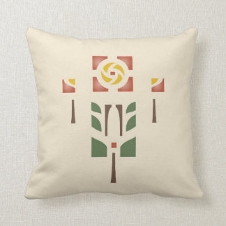 'Tea Rose' Stencil Design Throw Pillow