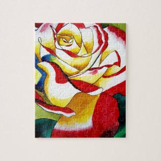 Tea Rose watercolor original art Flower Jigsaw Puzzles