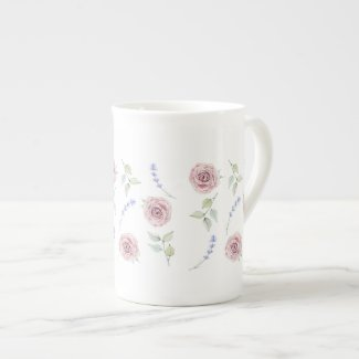 Tea Roses and Lavender Spikes Bone China Mug
