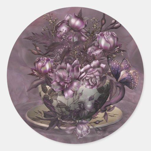 Tea & Roses Art Sticker