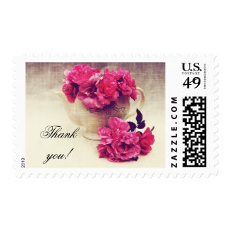Tea roses in a tea-pot -thank you stamp