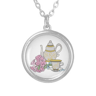 Tea Service Silver Plated Necklace