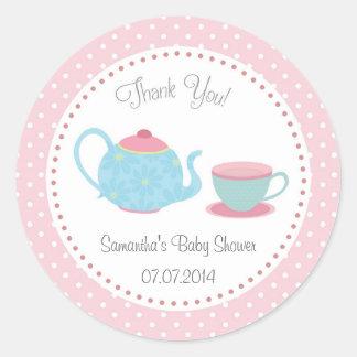 Tea Set Baby Shower Sticker Pink Blue Polka Dot