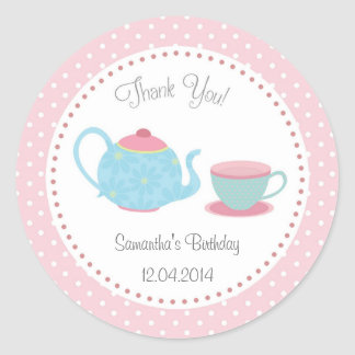 Tea Set Birthday Sticker Pink Blue Polka Dot