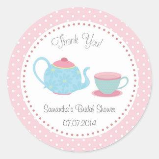 Tea Set Bridal Shower Sticker Pink Blue Polka Dot