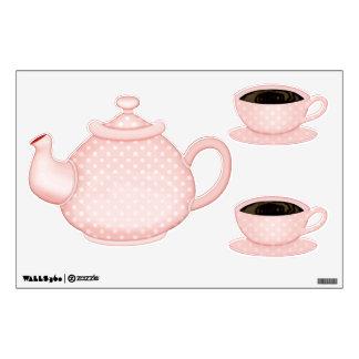 Tea Set - Pink Pastel Polka Dot Wall Sticker