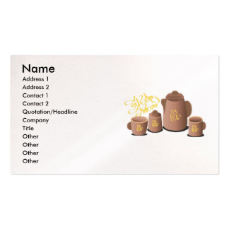 tea-set-vector-10021601-large, Name, Address 1,... Double-Sided Standard Business Cards (Pack Of 100)