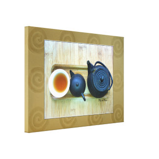 Tea Setting Photograph Overhead View Canvas Print