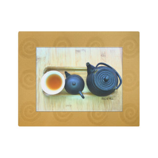 Tea Setting Still Life Photograph Overhead View Metal Print