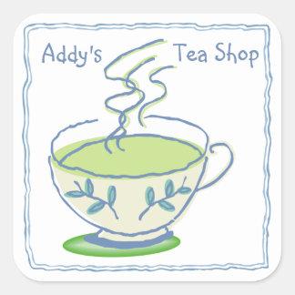 Tea Shop Square Stickers