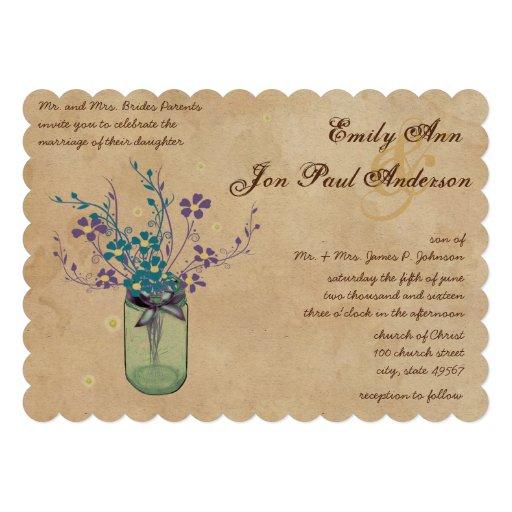 Tea Stain Yellow Aqua Purple Flower Mason Jar Invitations
