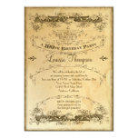 Tea Stained Vintage 100th Birthday Celebration Custom Invites