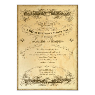 Tea Stained Vintage 90th Birthday Celebration 5x7 Paper Invitation Card
