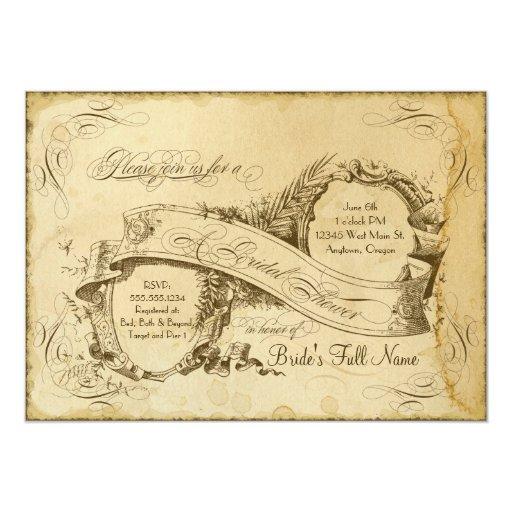 Tea Stained Vintage Wedding 1 - Bridal Shower 5x7 Paper Invitation Card