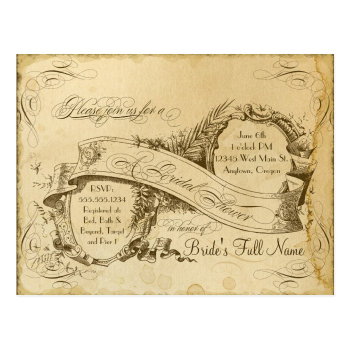 Tea Stained Vintage Wedding 1 - Bridal Shower Postcard