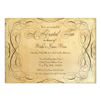 Tea Stained Vintage Wedding 1 - Bridal Tea Party 5x7 Paper Invitation Card