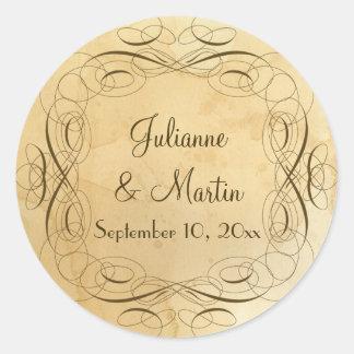 Tea Stained Vintage Wedding 1 - Envelope Seals Classic Round Sticker