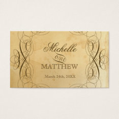 Tea Stained Vintage Wedding 1 Escort Seating Cards at Zazzle