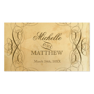 Tea Stained Vintage Wedding 1 Escort Seating Cards Business Cards