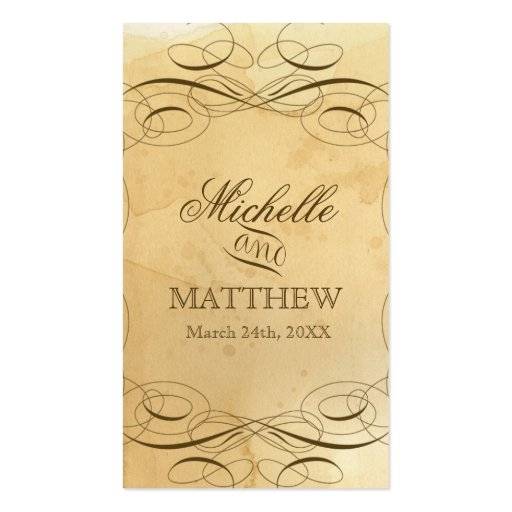 Tea Stained Vintage Wedding 1 - Favor Gift Tags Business Card
