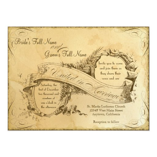 "Tea Stained Vintage Wedding 1 - Invitation Invite 5.5"" X 7.5"" Invitation Card"