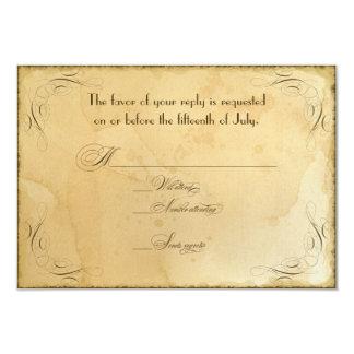 Tea Stained Vintage Wedding 1 - RSVP Response Card