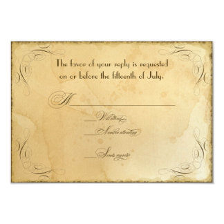 Tea Stained Vintage Wedding 1 - RSVP Response Card Personalized Invites