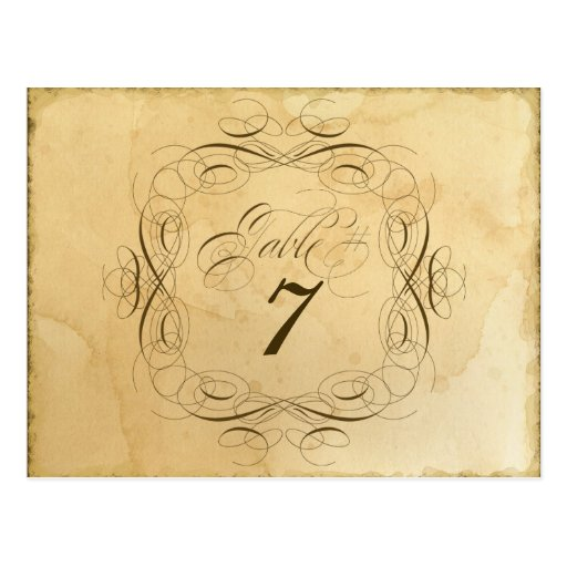 Tea Stained Vintage Wedding 1 - Table Number Cards