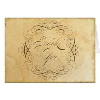 Tea Stained Vintage Wedding 1 - Thank You Notes Stationery Note Card