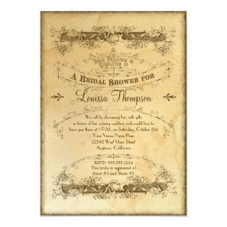 Tea Stained Vintage Wedding 2 - Bridal Shower 5x7 Paper Invitation Card