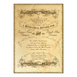 Tea Stained Vintage Wedding 2 -Rehearsal Dinner 5x7 Paper Invitation Card