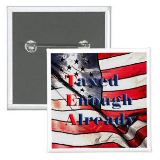 TEA - Taxed Enough Already on Flag Background Button