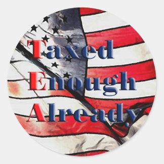 TEA - Taxed Enough Already on Flag Background Classic Round Sticker