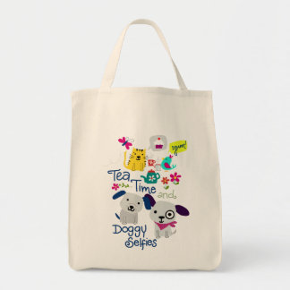 Tea Time and Doggy Selfies Tote Bag