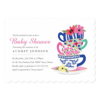 "Tea Time Baby Shower Invitation 5"" X 7"" Invitation Card"