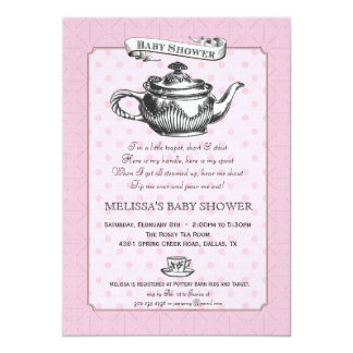 Tea Time Baby Shower Invitation - Pink